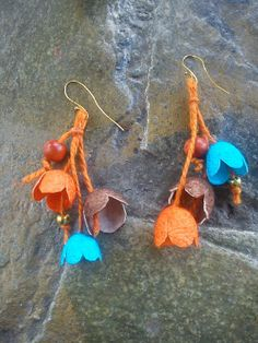handmade silk cocoons earrings No21
