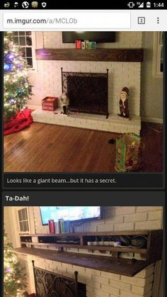Hidden storage in mantle. Watch/check mantle prevents over heating of electronics Tv Over Fireplace, Fireplace Redo, Faux Fireplace, Fireplace Remodel, Fireplace Design, Fireplace Ideas, Mantle Ideas, Tv Mounted Above Fireplace, Tv Mantle