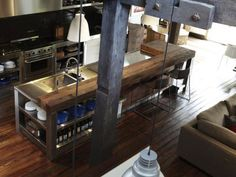 Stainless Steel  Timber Island and Bar - Carriageworks Renovation By Hare Klein Interior Design