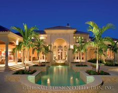 "Rear Elevation. The Sater Design Collection's luxury, Mediterranean home plan ""Cordillera"" (Plan #6953). saterdesign.com"