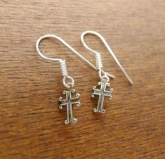 Sterling Silver Small Cross Earrings, Christian Cross Jewelry