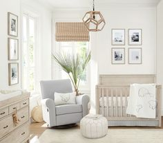 Find baby nursery ideas and inspiration at Pottery Barn Kids. Discover our gender neutral nursery ideas and themes that are perfect for any expecting mom. Baby Furniture, Nursery Room, Baby Nursery Decor, Baby Nursery, Pottery Barn Nursery, Nursery Neutral, Baby Girl Room, Nursery Chandelier, Nursery Room Design