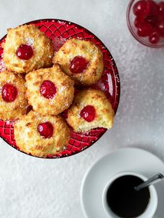 These Easy Coconut Macaroons are filled with old-world charm + a cherry in the middle! With crisp edges and a perfectly chewy texture on the inside. Greek Cookies, Coconut Cookies, Coconut Macaroons, Greek Sweets, Greek Desserts, Greek Recipes, Macaroon Recipes, Dessert Recipes, Semolina Cake