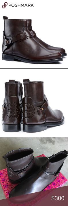 """NEW Tory Burch Derby Flats Booties Boots Brand new! Size 5. Retail $425. Riding-inspired straps and a prominent logo cutout lend classic appeal to a wear-with-everything ankle boot crafted from rich pebbled leather edged in a deep cognac hue. 1"""" heel; 5 3/4"""" boot shaft (size 8.5). Side zip closure. Leather upper, lining and sole. By Tory Burch; imported. Tory Burch Shoes Ankle Boots & Booties"""