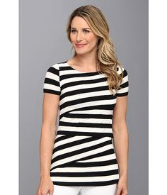 Vince Camuto S/S Zig Zap Cafe Stripe Tee Rich Black - Zappos.com Free Shipping BOTH Ways