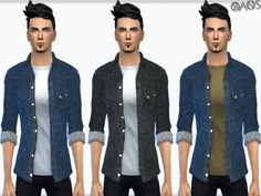 The Sims Resource: Crawfold Denim Shirt by OranosTR • Sims 4 Downloads