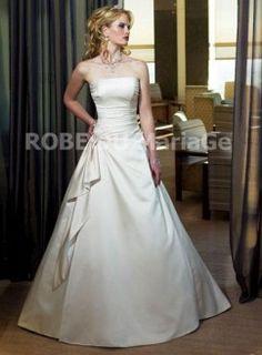 Robe princesse Ivoire drapée corsage satin petite traîne célèbre robe de mariée