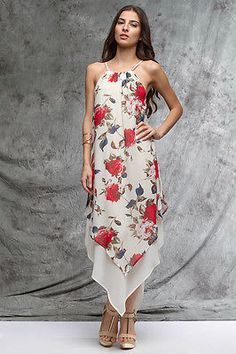 Sleeveless Woven Dress with Layered Contrast in Cream/Asymmetrical Handkerchief