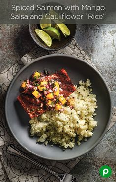Summer light: for those trying to squeeze more fish into their diet, the Spiced Salmon with Mango Salsa and Cauliflower Rice from Publix Aprons is a tasty way to do it. Salmon Recipes, Fish Recipes, Seafood Recipes, New Recipes, Cooking Recipes, Healthy Recipes, I Love Food, Good Food, Yummy Food