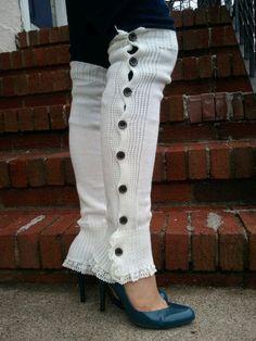 Leg Warmer, Boot Socks, - Cream/Ivory Leg warmer with Ivory Crochet Lace Trim on Etsy Winter Leggings, Cute Socks, Cool Style, My Style, Boot Socks, Crochet Lace, Leg Warmers, Lace Trim, High Fashion