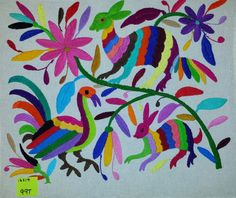"""Hand Embroidered Mexican Otomi Tenango Fabric Folk Art Multi-Color approx. 16"""" X 14"""" #99T"""