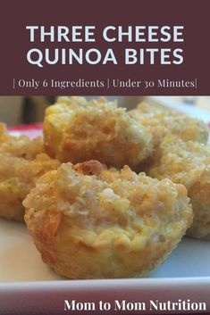 Three-Cheese Quinoa Bites are a quick and healthy kid-friendly food that are packed with protein from the quinoa, cheese, and egg. Toddler Recipes, Toddler Meals, Baby Food Recipes, Healthy Lunches, Healthy Food, Yummy Food, Healthy Side Dishes, Healthy Breakfast Recipes, Quinoa Bites
