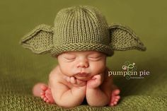 LOL! for the Star Wars fan...knitted Yoda hat for a baby! by PinkToad on etsy