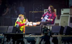 Nothing will stop Dave rocking, not even broken leg! What a awesome, but crazy man!! ❤ Hope Dave's leg heals alright!
