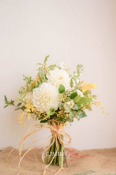 White l Yellow l Green Bridal Bouquet Stunning and fresh style  C.Passion Fleur Studio serves wedding decor, bridal bouquet, boutonnieres, bloom