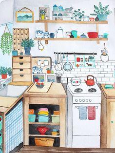 Kitchen Drawing, Kitchen Art, Kitchen Witch, Country Kitchen, Kitchen Ideas, Old Kitchen Cabinets, Painting Kitchen Cabinets, Art And Illustration, Interior Design Magazine