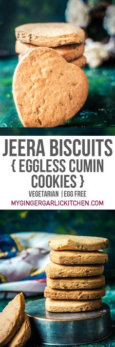 These Jeera biscuits aka Eggless Roasted Cumin Cookies are a perfect balance of lightly sweet and mildly salty flavors. They are crispy, crunchy and perfect tea time snack. Just imagine a nice cumin-y aroma in your house while these jeera biscuits are getting baked in the oven. OH, that cumin-y flavor and texture in every single bite would make you want to eat more of those. From: mygingergarlickitchen.com #cookies #Biscuits #eggless #Vegtarian #Baking #Teatime #Snacks