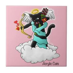 Valentine's Day Coal Black Cupid Cat Ceramic Tile - valentines day gifts love couple diy personalize for her for him girlfriend boyfriend