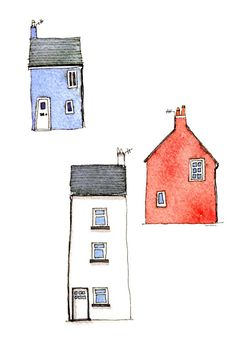 Devon, an art print by Nic Squirrell House Illustration, Illustrations, Posca Art, Watercolor Architecture, House Quilts, House Drawing, Whimsical Art, Easy Drawings, Doodle Art