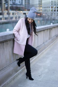 Jules A La Mode - love the way the American Apparel beanie edges up this outfit - Zara - Jeffrey Campbell - winter - outerwear - chicago