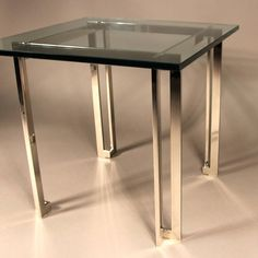 James Howell Chrome and Glass Side Table   From a unique collection of antique and modern side tables at https://www.1stdibs.com/furniture/tables/side-tables/