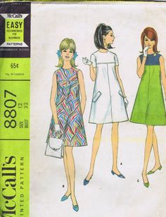 "VINTAGE 60s Sewing Pattern Tent Dress 8807 MCCALLS SIZE 12 BUST 32 HIP 35"" CUT"