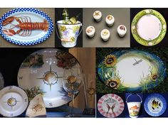 A wide collection of Barrington RI's Michele Popkos hand painted platters and glasses.