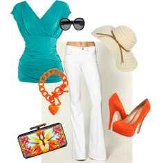 """Love the teal blouse style.   """"Mambo"""" by sherrie-chandler-miller on Polyvore"""