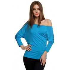 Korean Stylish Ladies Women Casual Long Batwing Sleeve Off Shoulder Solid Loose Shirt Blouse T-Shirt Top