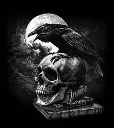 Alchemy Gothic - Fantasy Poster/Print (Edgar Allan Poe's Raven & Skull) (Size: 24 inches x 36 inches) Gothic Wallpaper, Skull Wallpaper, Crow Art, Raven Art, Dark Fantasy Art, Dark Gothic Art, Art Noir, Dark Art Tattoo, Gothic Tattoo