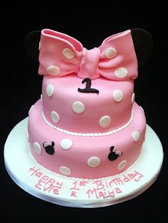 Pink Polka Dot 1st Birthday Cake