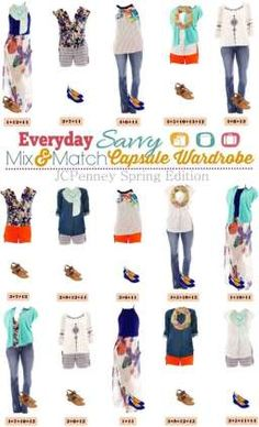 This JCPenney Spring capsule wardrobe is fun and includes some great pattern mixing. You will look great at most any occasion from hanging out with the kids at the park to a dinner date!