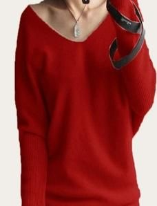 Spring autumn cashmere sweaters women fashion sexy v-neck sweater loose 100% wool sweater batwing sleeve pullover