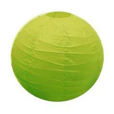 Ces boules décoratives sont fabriquées en papier coloré, ici en vert anis.
