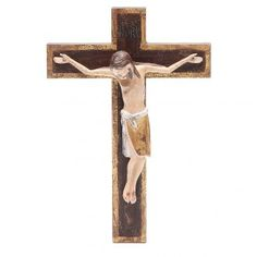 Crucifijo románico 65cm, madera Valgardena Antiguo Dorado | venta online en HOLYART