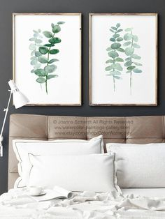 Eucalyptus Canvas Fine Art Print set of 2 Paintings. Mint Green and Greyish Teal Botanical Living Room Decoration. Watercolor Leaf Minimalist Wall Decor. Two Silver Dollar Eucalyptus Branches. In the first Picture the Eucalyptuses are printed on off-white canvas: Width: 24 - 91,5cm