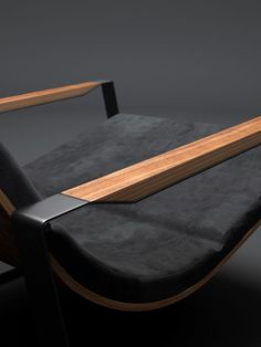 Lounge chair wooden armrest detail