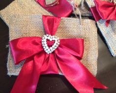 """The words """"elegant"""" and """"burlap"""" really can be combined to create something wonderful for presenting Valentine's Day goodies. With only a few days left until Valentine's Day, I want to… Treat Bags, Valentines Day, Burlap, About Me Blog, Treats, Goodie Bags, Valentine's Day Diy, Sweet Like Candy, Goodies"""