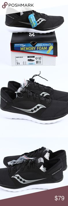MEN'S | Saucony - KINETA RELAY - NEW - 11 - Black Saucony - KINETA RELAY - FORM2U Memory Foam  STYLE # S25244-51  Men's Size 11  -At the gym and on the streets, the Saucony® Kineta Relay provides the performance, comfort, and style to fit your lifestyle. -Built on a neutral last. -Ideal for light workouts and active lifestyles. -Lightweight, breathable mesh and synthetic uppers. -Lace-up closure. -Slightly padded tongue and collar. -Textile lining. -FORM2U memory foam cushioning contours to…