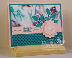 Shaving Cream Technique and Stampin' Up! Crazy About You & Hello Life. YouTube Video included. Debbie Henderson, Debbie's Designs.