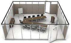 Flexible conference components adapt to varying group needs. Separate tables can be used as a single conference surface, as shown here, or rearranged for smaller teams. Demountable Partitions, Movable Walls, Loft Office, Study Areas, Interior Decorating, Interior Design, Conference Table, Sound Proofing, Corporate Design