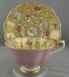 I want it.....Royal Albert Princess Series Cup Saucer Avon Shape Pink Gold 1960'S