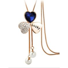 Heart Shape Clover Pendant Long Necklace (43 ILS) ❤ liked on Polyvore featuring jewelry, necklaces, heart shaped necklace, heart necklace, heart pendant, long clover necklace and crystal necklace