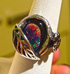 Spectacular Genuine Australian Black Opal ring. Set by AmyKJewels