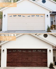 Tips for a DIY Garage Door Makeover and how to Gel Stain a Garage Door to Look Like Wood by popular lifestyle blogger Tabitha Blue of Fresh Mommy Blog