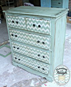 Chevron dresser- the easy way! Painted in CeCe Caldwell's Paints - Alaskan Tundra and Vintage White