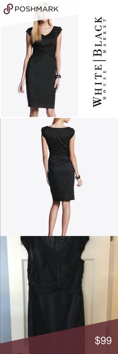 """🆕➕ WHBM knotted dupioni sheath Black dupioni sheath dress designed with a sharp V-neck and a gentle twist at the cap sleeves and hourglass waist. Crisp dupioni fabric with a slubbed texture, subdued luster and gentle rustle. 59% Polyester, 36% Nylon, 5% Spandex. Dry clean. Imported. Hourglass fit. Princess seams contour the bodice. Hidden back zip with hook-and-eye closure. 4"""" slit. Fully lined in charmeuse; silky side rests against the skin. Underarm across 19"""". Length 41"""". Brand new with…"""
