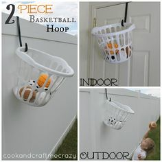 "Simple Basketball ""Hoop"" for #Kids #Play For my son's loft bed to create storage off the side of the bed and make cleaning up fun."
