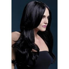 The Fever Khloe wig in black is a long wave wig featuring a centre parting and measures long and is manufacture with a fully adjustable, high quality wig cap and can withstand heat styling appliance temperatures in excess of 120 degree, comes in a gr Black And Blonde, Black Wig, Long Black Hair, Halloween Wigs, Adult Halloween, Halloween Costume Accessories, Long Fringes, Long Wigs, Costume Wigs