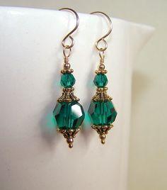 Emerald Green Earrings for Women May Birthstone by BikerBlingCa